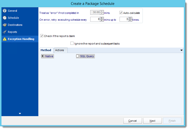 Crystal Reports: Exception Handling Wizard in Package Report Schedule in CRD.