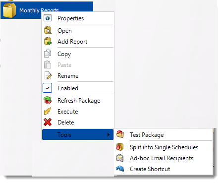 Crystal Reports:  Package Report Schedule Context Menu in CRD.
