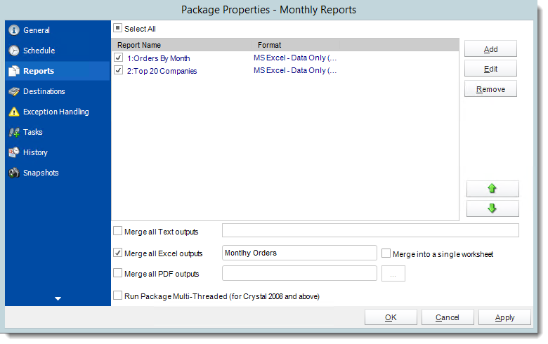 Crystal Reports:  Package Report Schedule Properties in CRD.