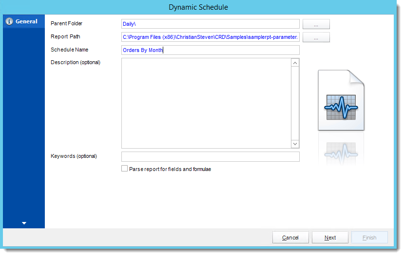 Crystal Reports: General Wizard in Dynamic Schedule Report in CRD.