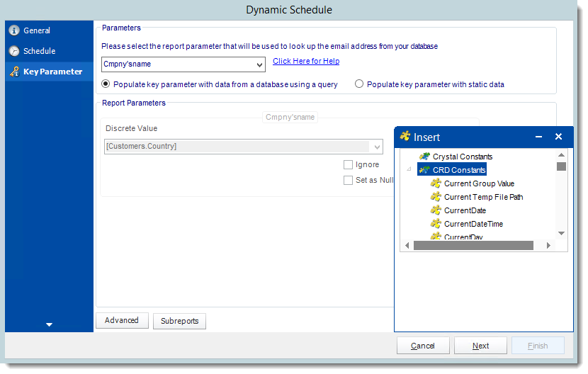 Crystal Reports: Key Parameter Wizard in Dynamic Schedule Report in CRD.