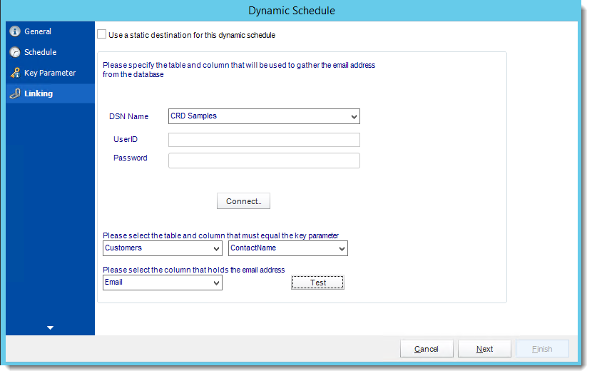 Crystal Reports: Linking Wizard in Dynamic Schedule Report in CRD.
