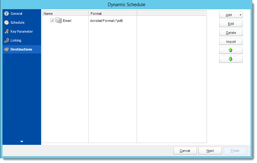 Crystal Reports: Destination Wizard in Dynamic Schedule Report in CRD.