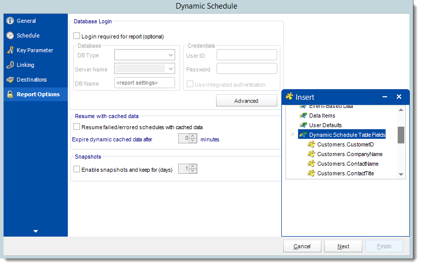 Crystal Reports: Report Options Wizard in Dynamic Schedule Report in CRD.