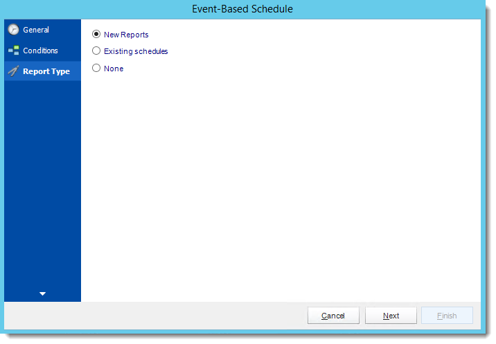 Crystal Reports: Report Type Wizard in Event Based Schedule in CRD.