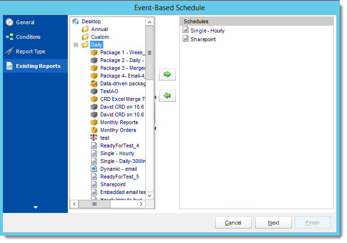 Crystal Reports: Existing Report Wizard in Event Based Schedule in CRD.
