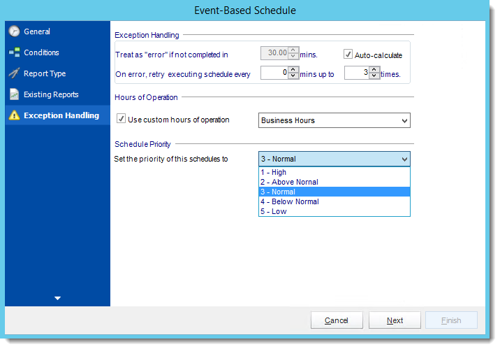 Crystal Reports: Exception Handling Wizard in Event Based Schedule in CRD.