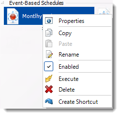 Crystal Reports: Event Based Schedule Context Menu in CRD.
