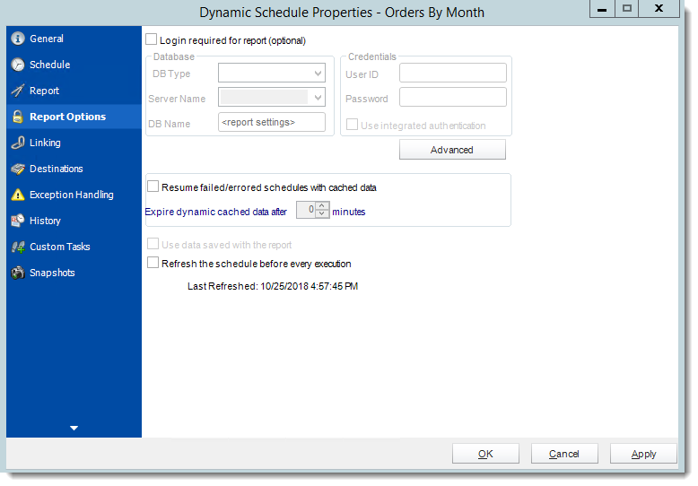 Crystal Reports: Dynamic Schedule Report Properties in CRD.