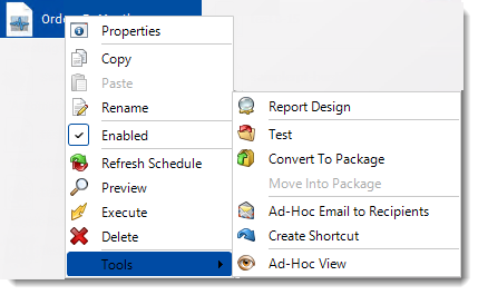 Crystal Reports: Dynamic Schedule Report Context Menu in CRD.
