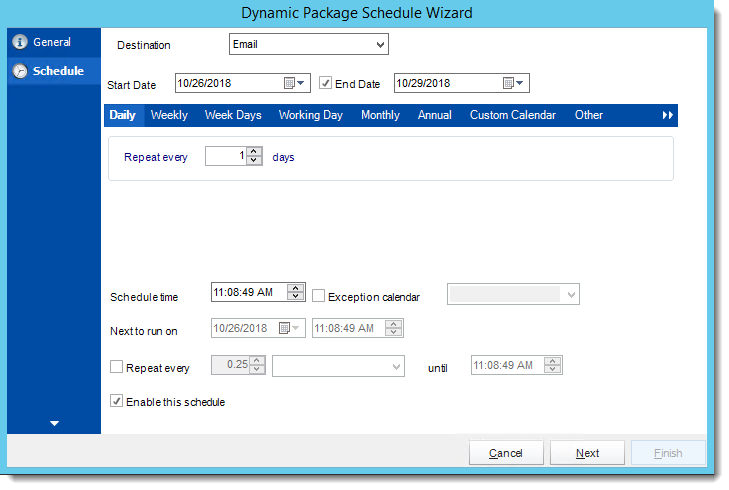 Crystal Reports: Schedule Wizard in Dynamic Package Schedule Reports in CRD.