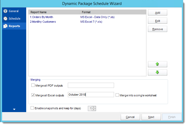 Crystal Reports: Reports Wizard in Dynamic Package Schedule Reports in CRD.