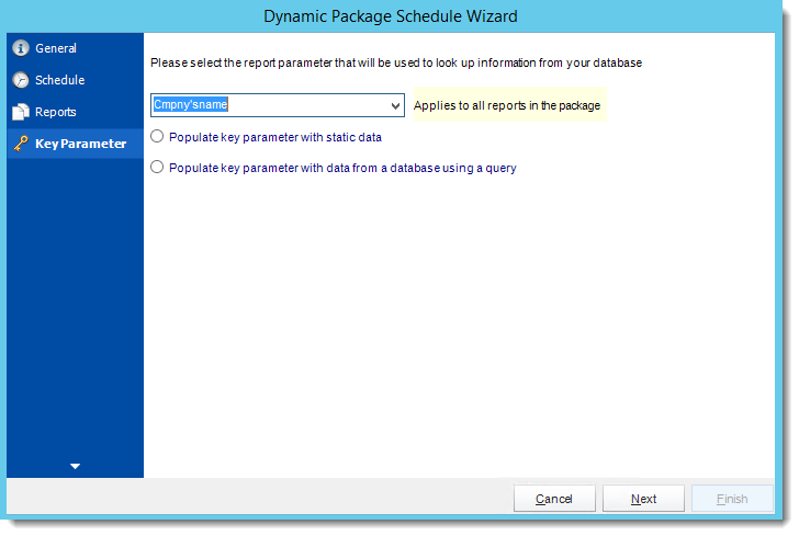 Crystal Reports: Key Parameters Wizard in Dynamic Package Schedule Reports in CRD.