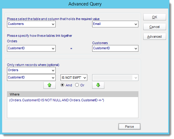 Crystal Reports: Advanced Query pop-up in CRD.