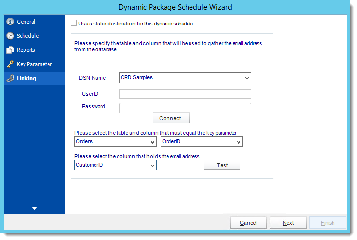 Crystal Reports: Linking Wizard in Dynamic Package Schedule Reports in CRD.