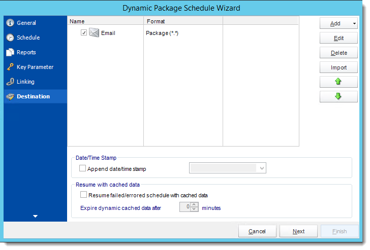 Crystal Reports: Destination Wizard in Dynamic Package Schedule Reports in CRD.