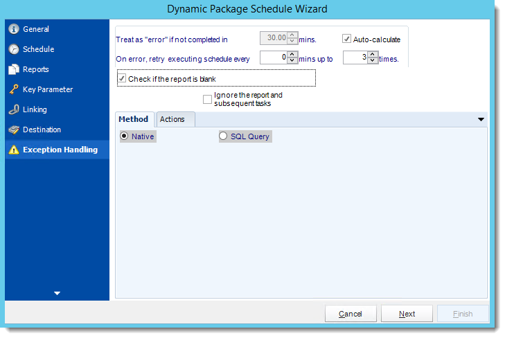 Crystal Reports: Exception Handling Wizard in Dynamic Package Schedule Reports in CRD.