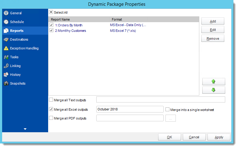 Crystal Reports: Dynamic Package Schedule Reports Properties in CRD.