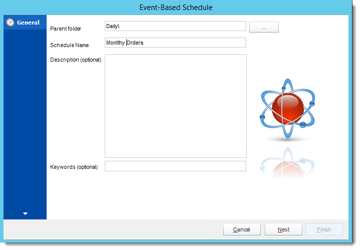 Crystal Reports: General Wizard in Event Based Schedule in CRD.