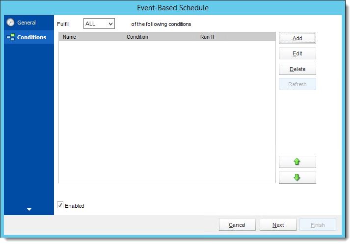 Crystal Reports: Conditions Wizard in Event Based Schedule in CRD.