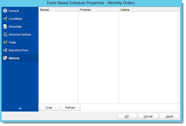 Crystal Reports: Event Based Schedule Properties Wizard in CRD.