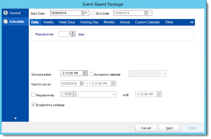 Crystal Reports: Schedule Wizard in Event Based Package in CRD.
