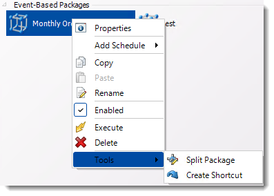 Crystal Reports: Event Based Package Context Menu in CRD.