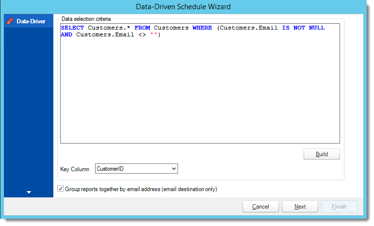 Crystal Reports: Data Driver Wizard in Data Driven Schedule in CRD.