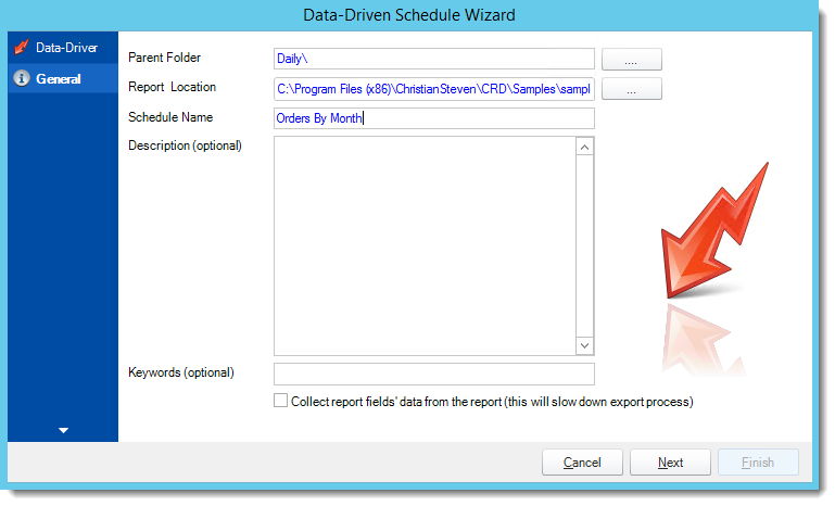 Crystal Reports: General Wizard in Data Driven Schedule in CRD.