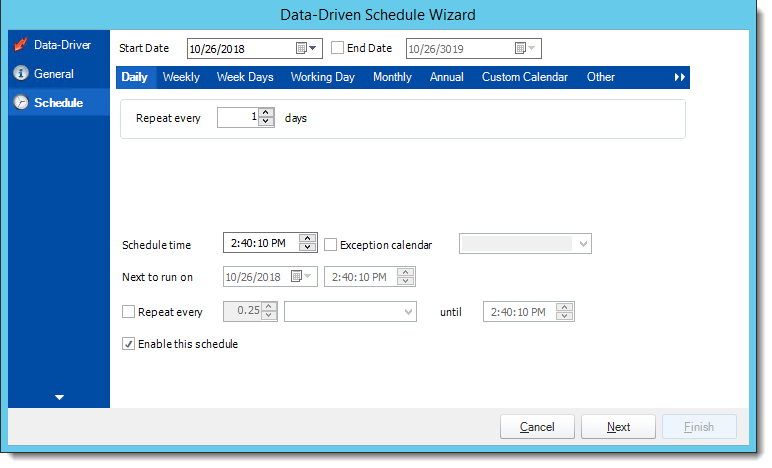 Crystal Reports: Schedule Wizard in Data Driven Schedule in CRD.