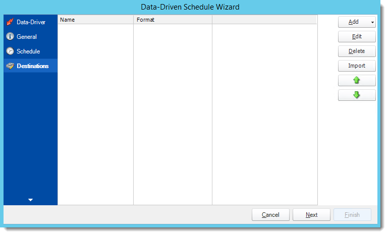 Crystal Reports: Destinations Wizard in Data Driven Schedule in CRD.