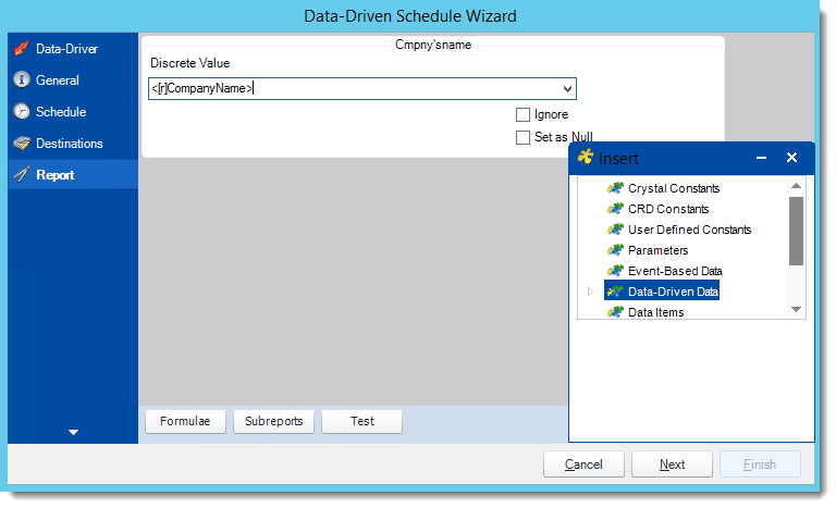 Crystal Reports: Report Wizard in Data Driven Schedule in CRD.