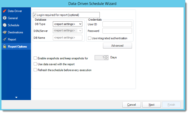 Crystal Reports: Report Options Wizard in Data Driven Schedule in CRD.