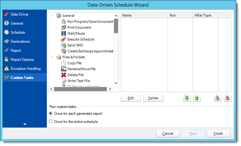 Crystal Reports: Custom Tasks Wizard in Data Driven Schedule in CRD.