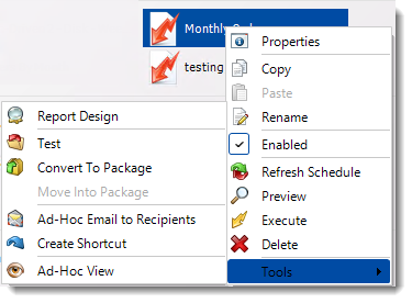 Crystal Reports: Data Driven Schedule Context Menu in CRD.