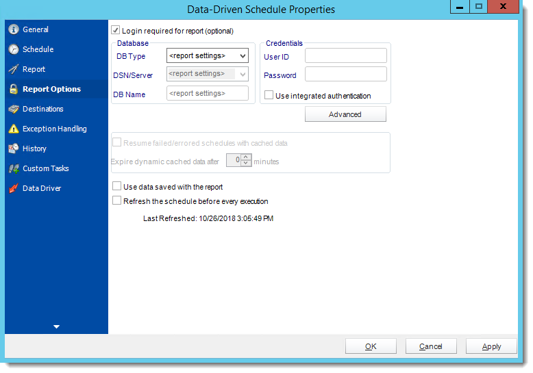 Crystal Reports: Data Driven Schedule Properties Wizards in CRD.