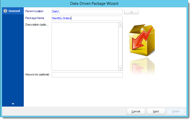 Crystal Reports: General Wizard in Data Driven Package in CRD.