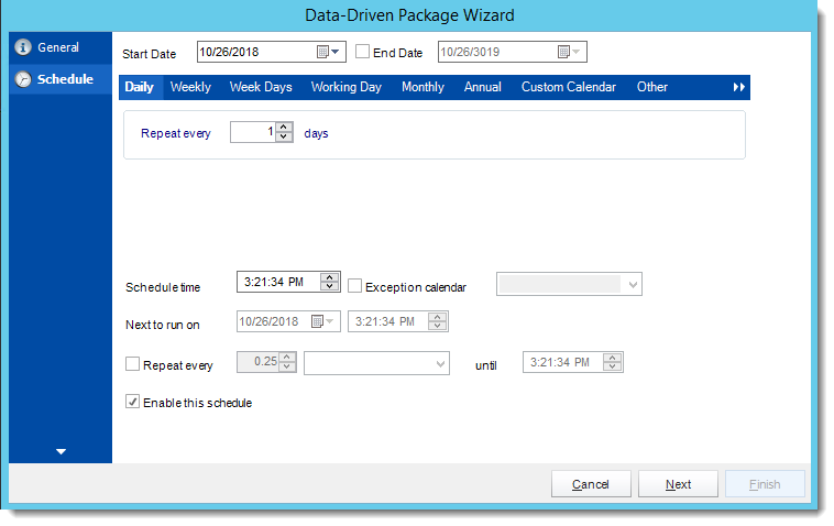 Crystal Reports: Schedule Wizard in Data Driven Package in CRD.