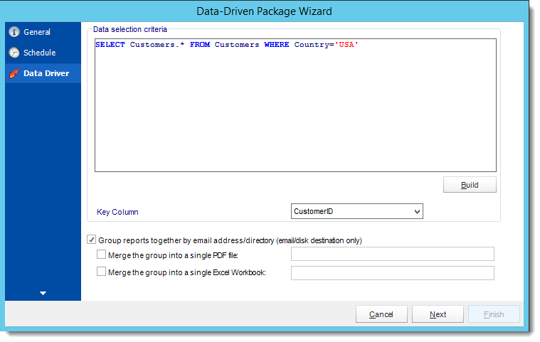 Crystal Reports: Data Driver Wizard in Data Driven Package in CRD.