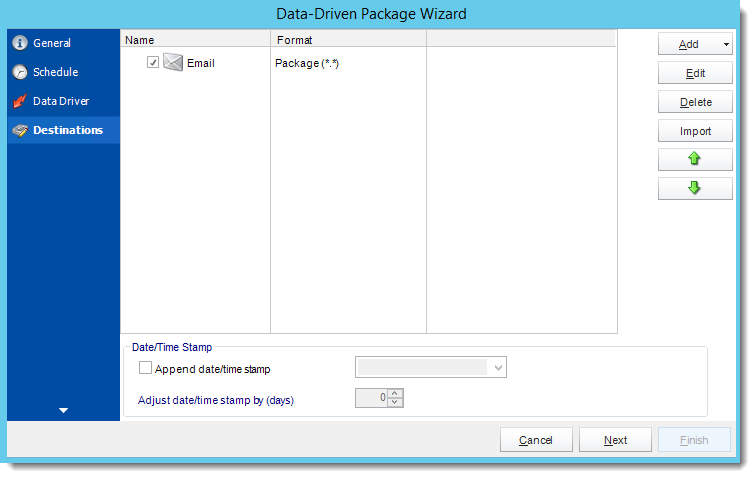 Crystal Reports: Destinations Wizard in Data Driven Package in CRD.