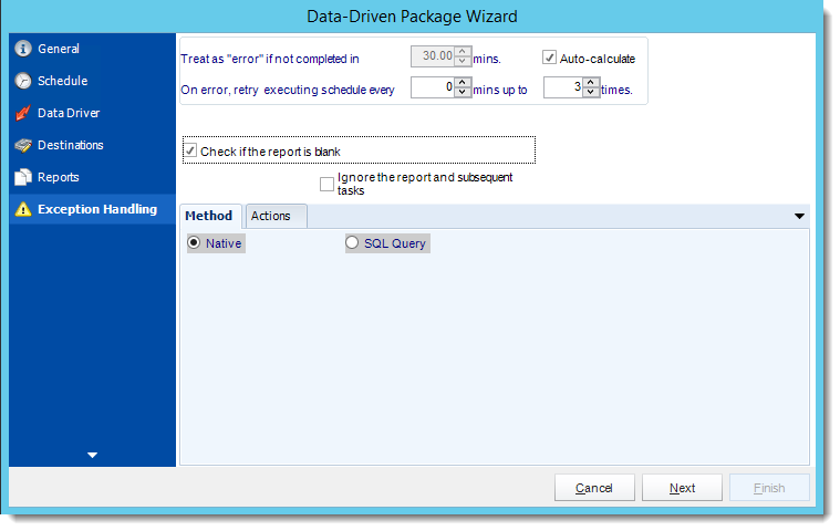 Crystal Reports: Exception Handling Wizard in Data Driven Package in CRD.