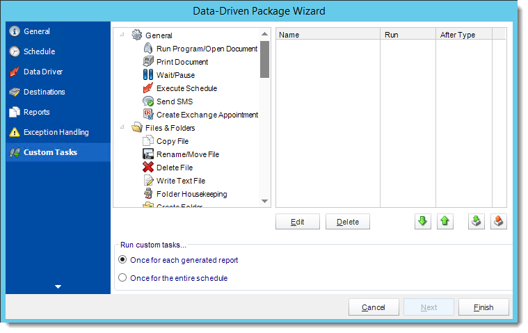 Crystal Reports: Custom Tasks Wizard in Data Driven Package in CRD.