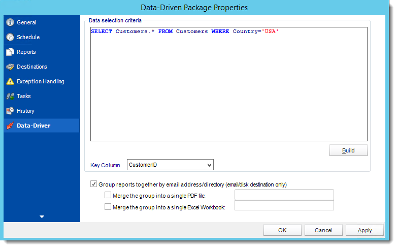 Crystal Reports: Data Driven Package Properties Wizard in CRD.