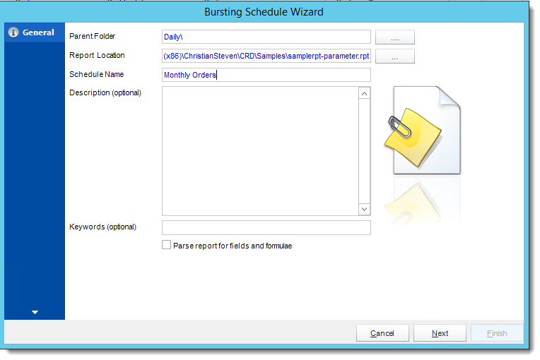 Crystal Reports: General Wizard in Bursting Schedule in CRD.