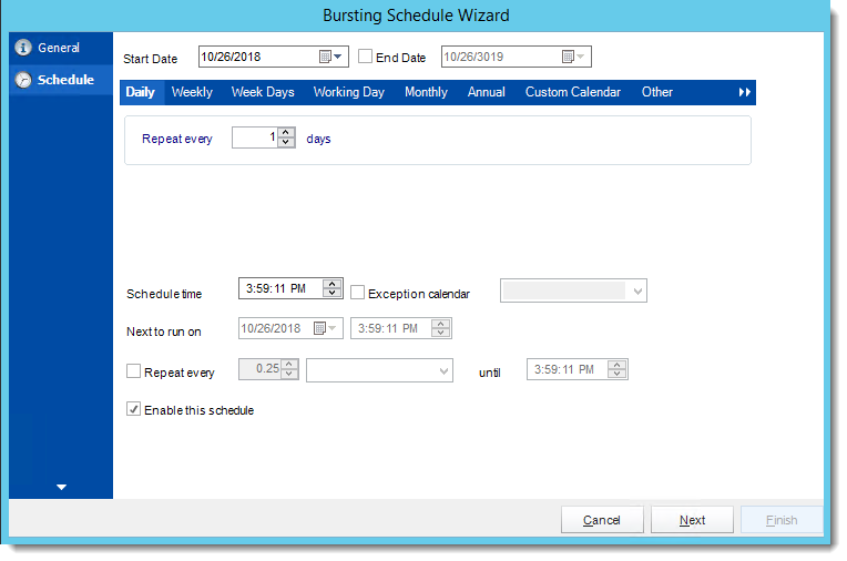 Crystal Reports: Schedule Wizard in Bursting Schedule in CRD.