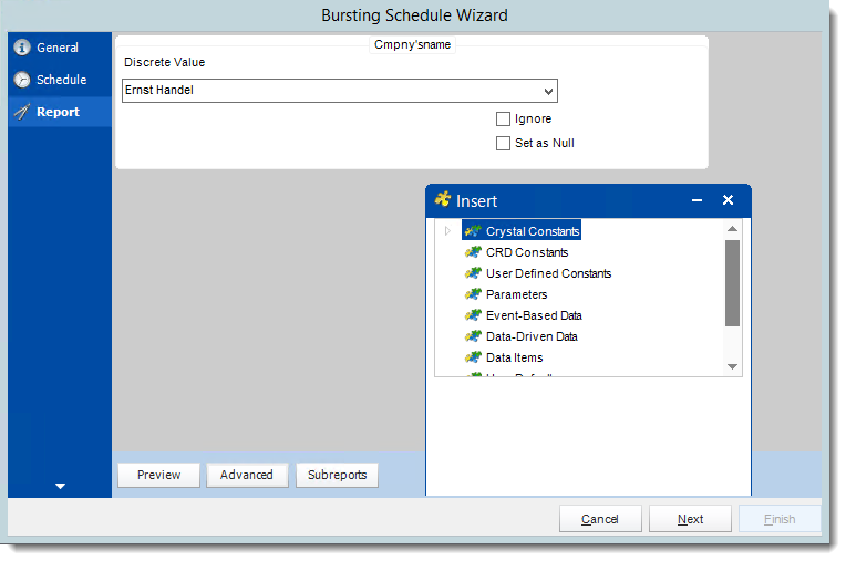 Crystal Reports: Report Wizard in Bursting Schedule in CRD.