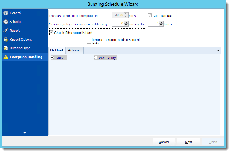 Crystal Reports: Exception Handling Wizard in Bursting Schedule in CRD.