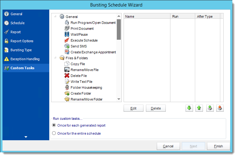 Crystal Reports: Custom Tasks Wizard in Bursting Schedule in CRD.