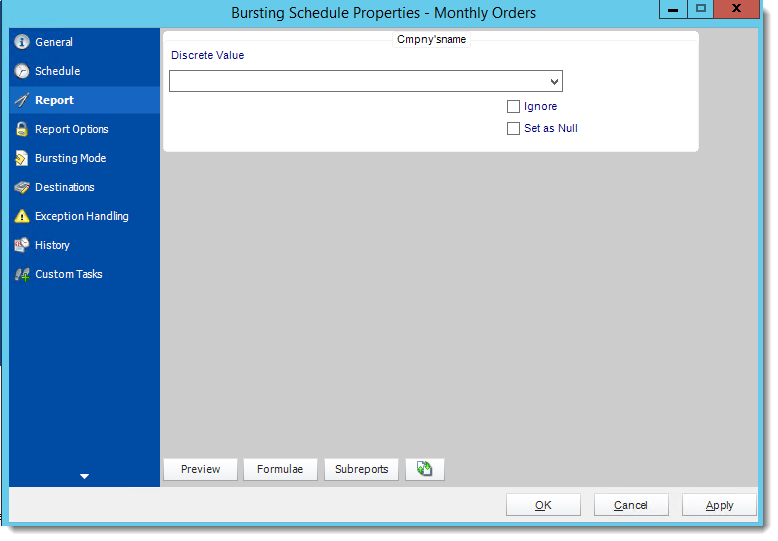 Crystal Reports: Bursting Schedule Properties Wizards in CRD.