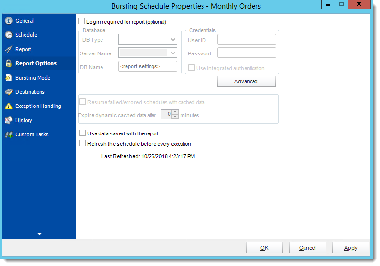 Crystal Reports: Report Options Wizard in Bursting Schedule in CRD.